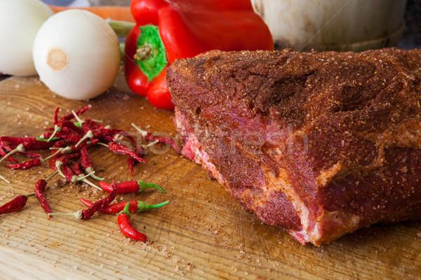 Amerikan domuz eti stil et pişirmek Stok fotoğraf © trexec