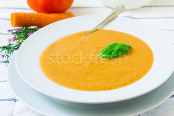 Vegetariano crema sopa cerámica tazón hortalizas Foto stock © trexec