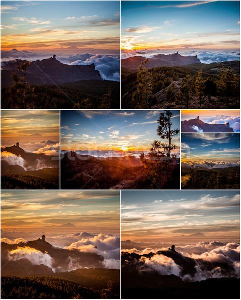 Montanha colagem pôr do sol montanhas paisagem Foto stock © trexec