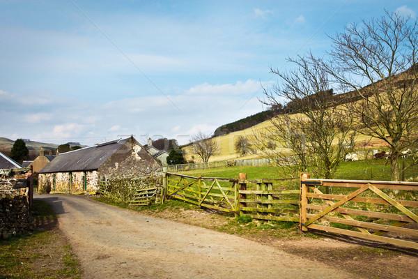 Boerderij gebouwen oude steen hemel gras Stockfoto © trgowanlock
