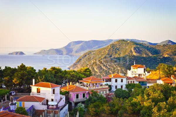 Oude dorp Griekenland namiddag zon hemel Stockfoto © trgowanlock