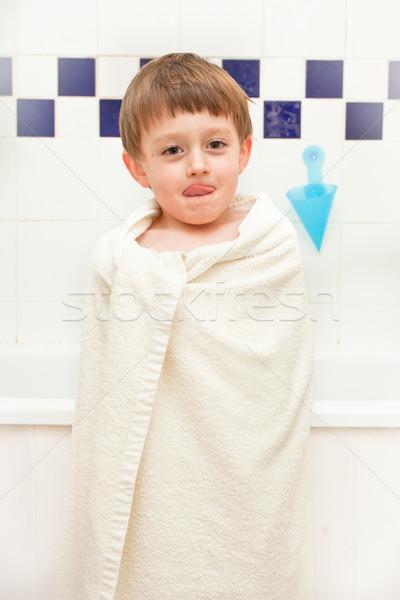 Bad tijd handdoek home leuk Stockfoto © trgowanlock