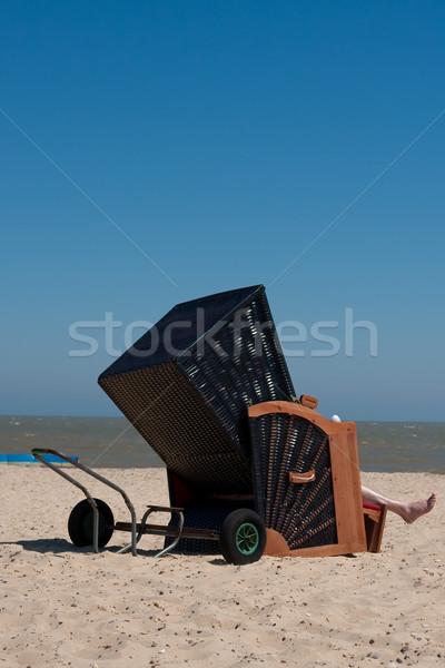 Ligstoel interessant houten zonnige strand hemel Stockfoto © trgowanlock