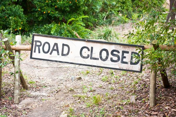 út zárva felirat vidéki helyszín utca Stock fotó © trgowanlock