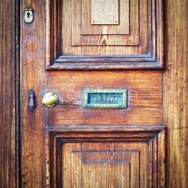 Voordeur houten vintage brievenbus home achtergrond Stockfoto © trgowanlock