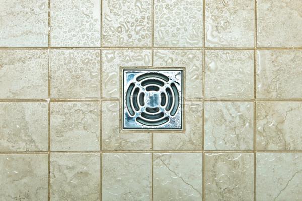 Boşaltmak delik Metal kiremitli zemin duş Stok fotoğraf © trgowanlock