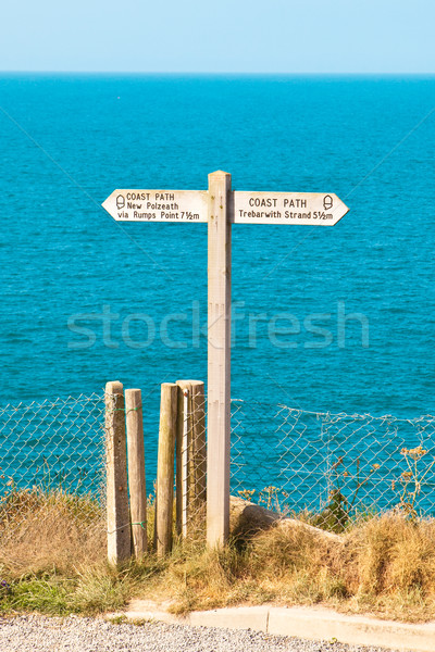 Sign for part of the South West Coast path in Cornwall, UK Stock photo © trgowanlock