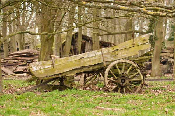 Velho carrinho árvore fundo quadro Foto stock © trgowanlock
