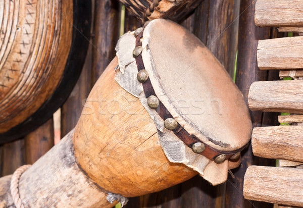 Bois traditionnel africaine instruments de musique main tissu Photo stock © trgowanlock