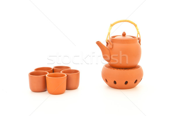 Terracotta tea set Stock photo © trgowanlock