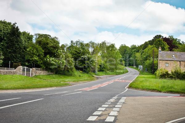 Zdjęcia stock: Wiejski · drogowego · skrzyżowanie · lasu · dziedzinie · zielone