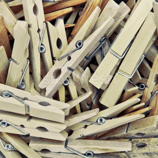 Fából készült ruházat sok fa csoport kosár Stock fotó © trgowanlock