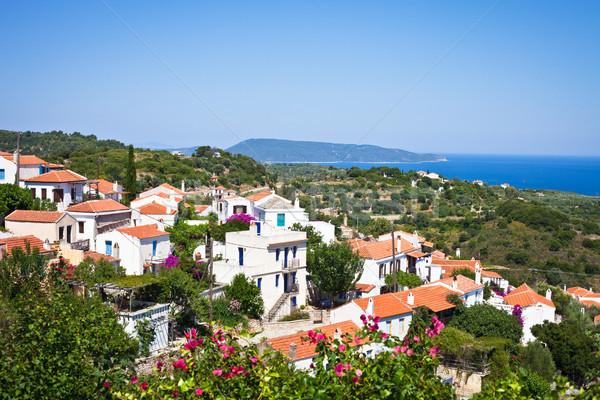 Kilátás öreg falu Görögország nyár 2012 Stock fotó © trgowanlock