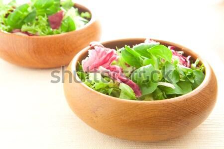Saláta kettő tálak fény fitnessz asztal Stock fotó © trgowanlock