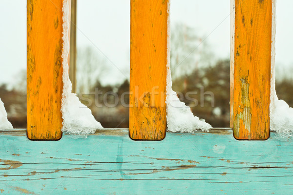 Snow on railings Stock photo © trgowanlock