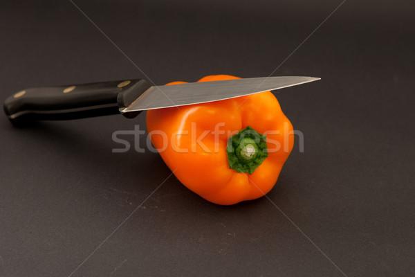 Bors narancs paprika kés háttér eszik Stock fotó © trgowanlock