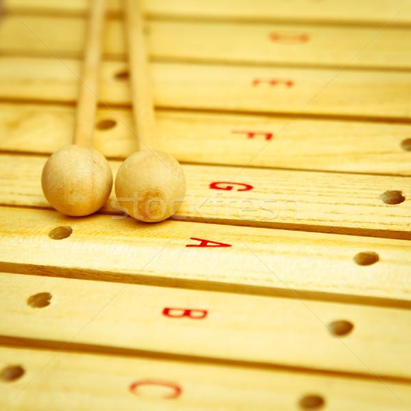 Xylofoon hout speelgoed sleutels lifestyle creatieve Stockfoto © trgowanlock