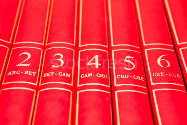 Encyclopédie rangée rouge livres plateau éducation Photo stock © trgowanlock