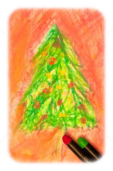 Christmas tekening afbeelding scène Stockfoto © trgowanlock