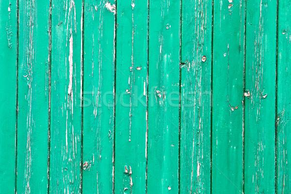 Resistiu verde madeira pintado textura piso Foto stock © trgowanlock