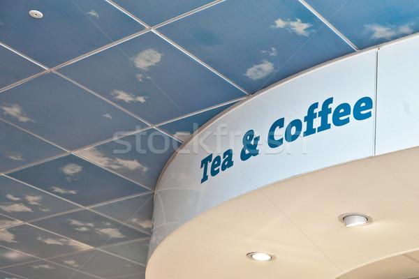 Tea kávé felirat modern vendéglátás háttér Stock fotó © trgowanlock