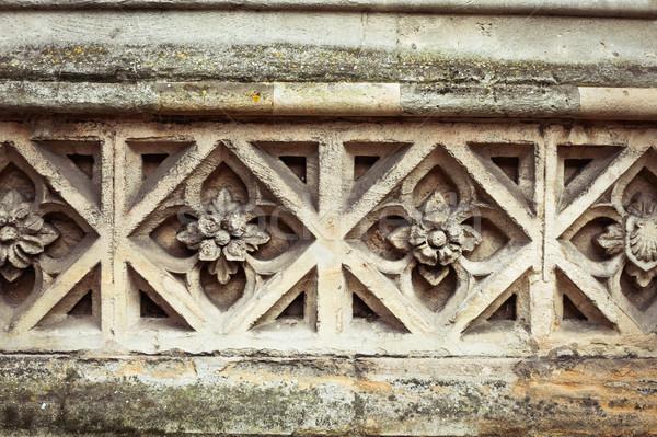 Pedra padrão medieval projeto igreja parede Foto stock © trgowanlock
