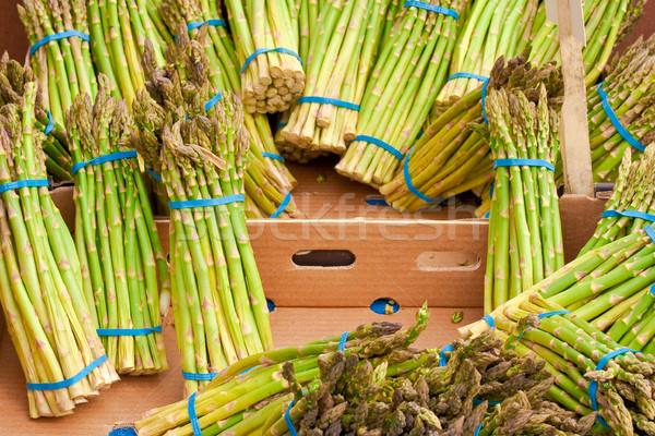 Spárga friss háttér zöld piac vásár Stock fotó © trgowanlock
