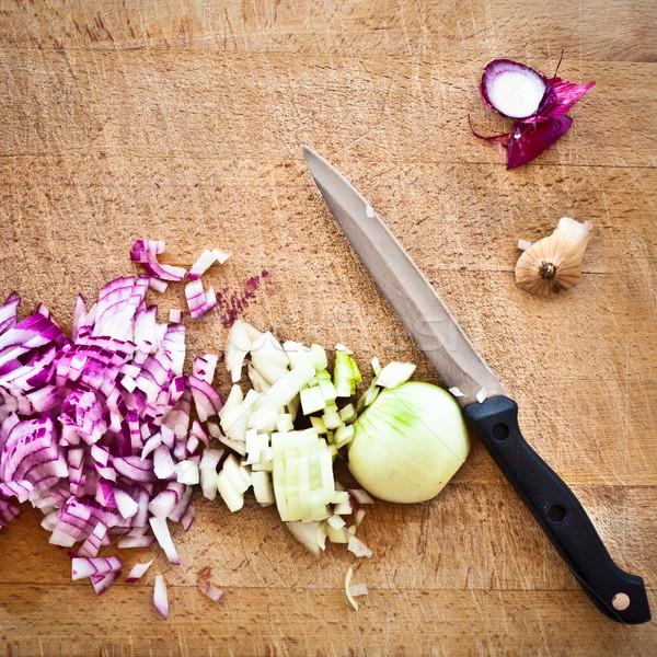 Cebolas picado vermelho marrom Foto stock © trgowanlock