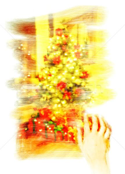 Noel ağacı dijital suluboya boyama tuval el Stok fotoğraf © trgowanlock