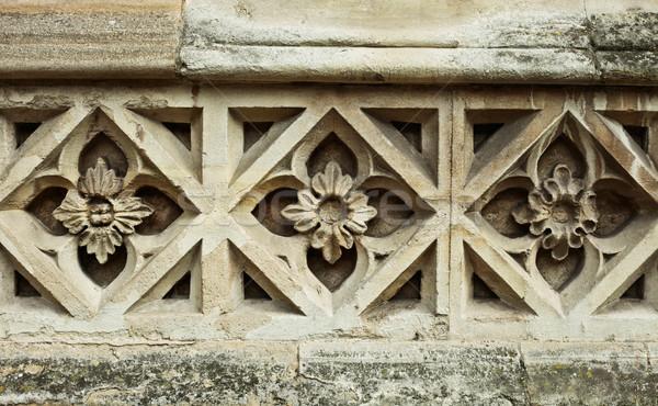 Steen patroon middeleeuwse ontwerp kerk muur Stockfoto © trgowanlock
