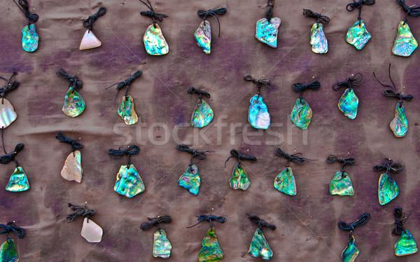 Collection of jewelry made from New Zealand paua shells Stock photo © trgowanlock