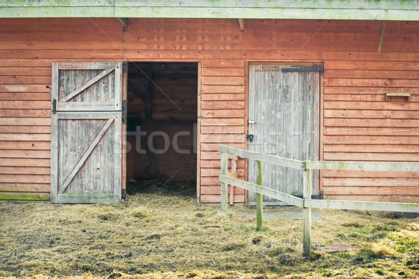 Csőr ajtó nyitott ajtó fából készült épület égbolt Stock fotó © trgowanlock
