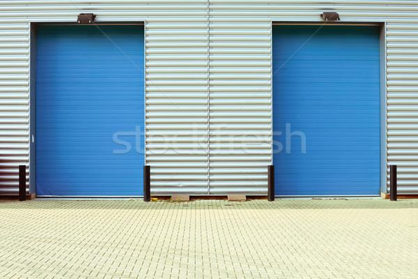 Сток-фото: завода · дверей · два · синий · стены · промышленных