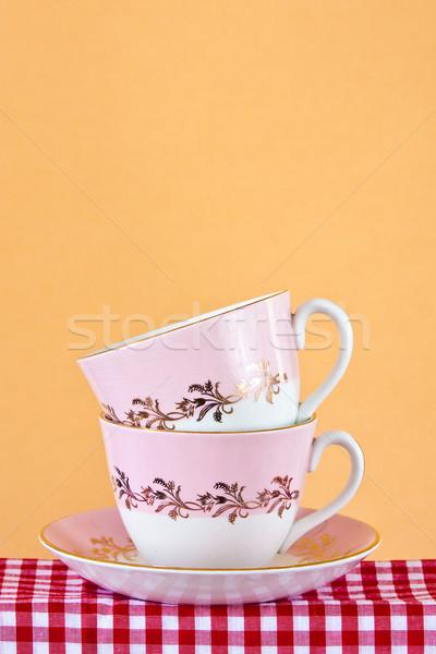 Iki retro tarzı bez çay iç renk Stok fotoğraf © trgowanlock