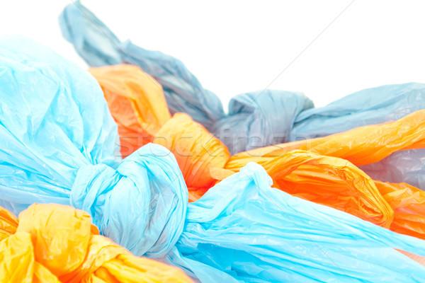 Műanyag szatyrok felfelé fehér narancs kék Stock fotó © trgowanlock