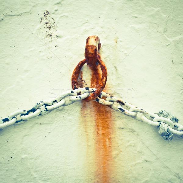 Paslı zincir beyaz duvar bağbozumu doku Stok fotoğraf © trgowanlock