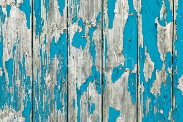 Oud hout verweerde geschilderd Blauw hout muur Stockfoto © trgowanlock