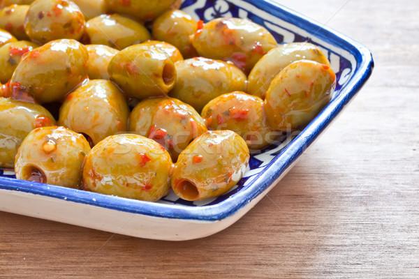 зеленый оливками блюдо красный чили перец Сток-фото © trgowanlock