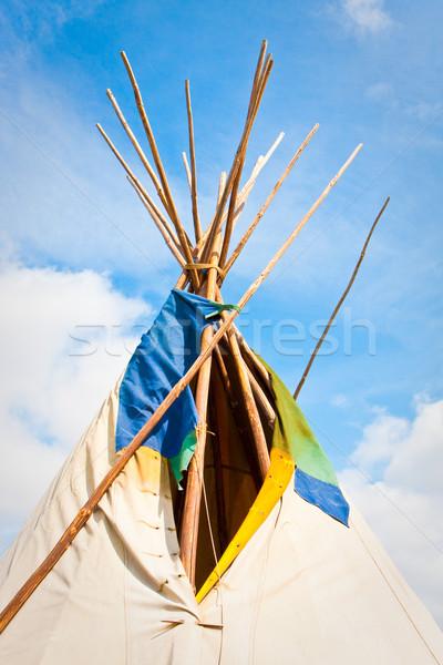 Top traditioneel heldere Blauw zomer hemel Stockfoto © trgowanlock