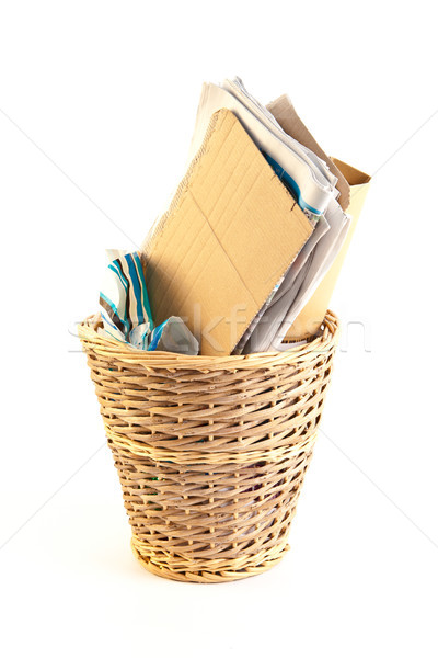 Deşeuri hârtie alb birou recipient Imagine de stoc © trgowanlock