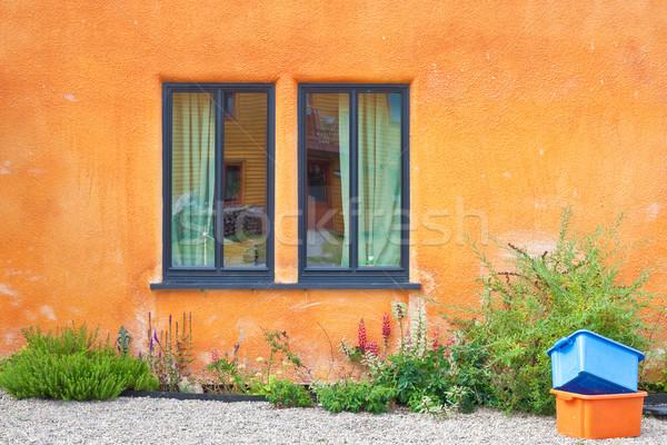 Vibráló fal modern ablak narancs textúra Stock fotó © trgowanlock