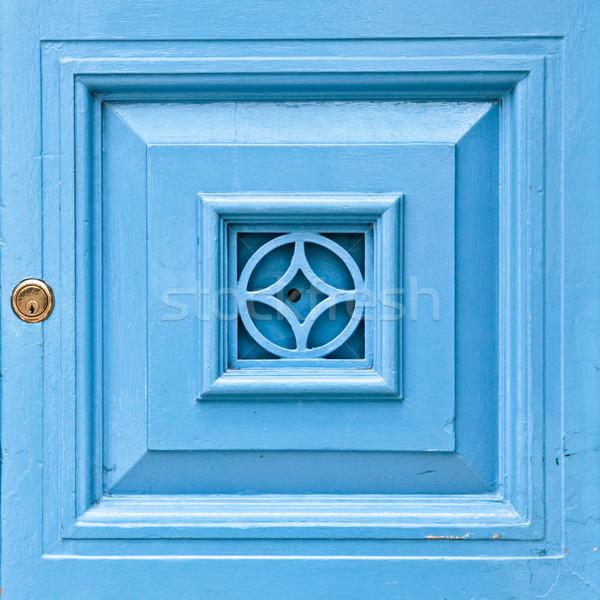 Deur paneel Blauw houten slot home Stockfoto © trgowanlock