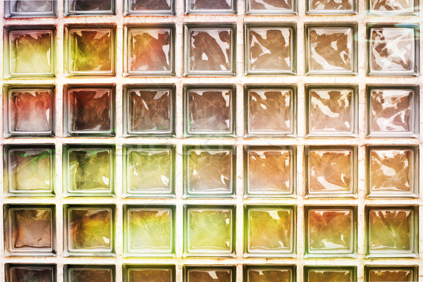 Glas bakstenen muur kleurrijk Maakt een reservekopie verlichting Stockfoto © trgowanlock