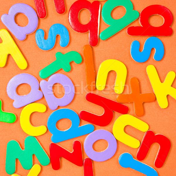 Colorido cartas cuadrados alfabeto madera escuela Foto stock © trgowanlock