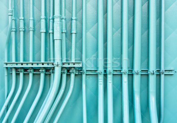синий Трубы группа промышленных стены цвета Сток-фото © trgowanlock