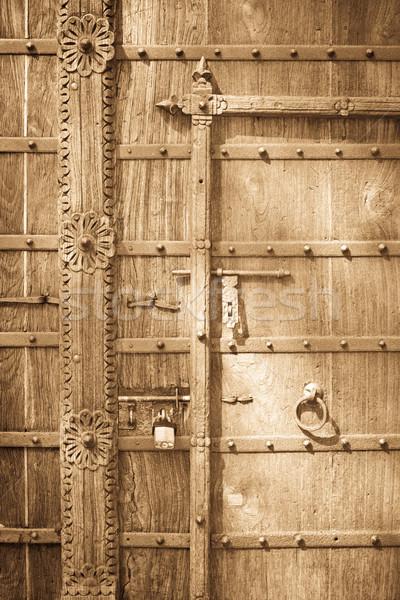 öreg ajtó részletes kép fából készült fa Stock fotó © trgowanlock