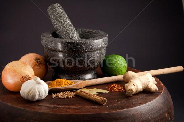 Hozzávalók egzotikus étel konyha étterem zöld Stock fotó © trgowanlock