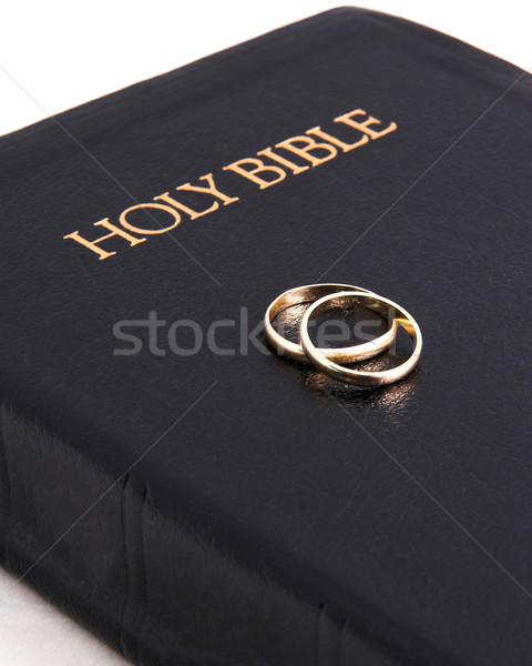 Closed Bible & wedding bands Stock photo © Trigem4