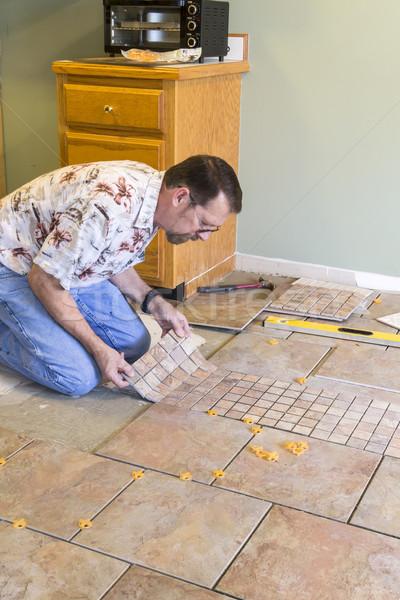 Ceramic Tile Installer Stock photo © Trigem4
