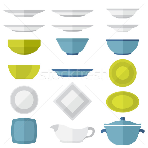 flat design dinnerware set Stock photo © TRIKONA